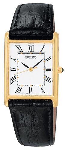 Seiko Men's SNF672 Dress Black Leather Strap Watch