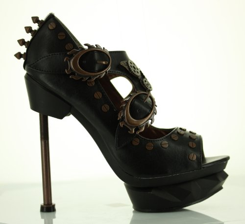 Lades Steampunk Sky Captain High Heel Shoes by Hades, UK Size 7.5 - Black
