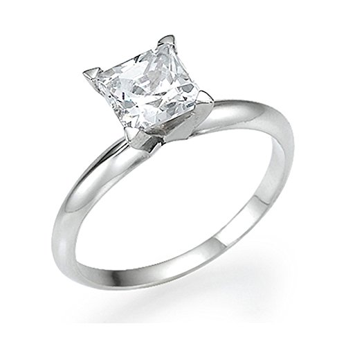 White Gold Engagement Ring 0.40 CT Princess Cut Natural Diamond D/SI1 14ct
