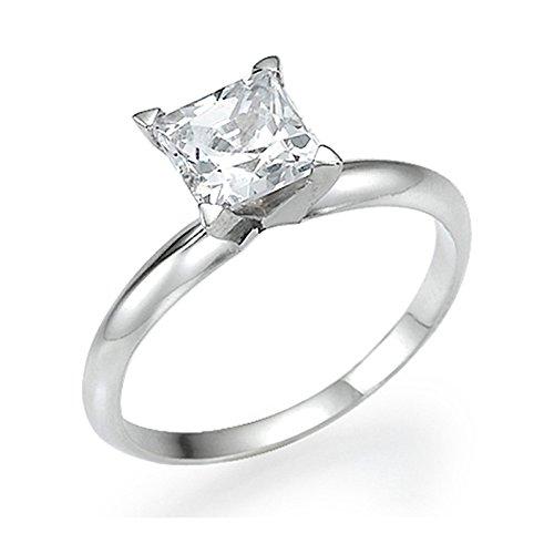 White Gold Engagement Ring 0.40 CT Princess Cut Natural Diamond D/SI1 14ct