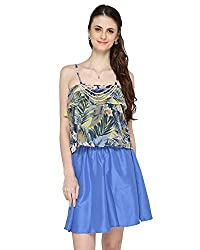 Bedazzle Blue Floral Print Top And Blue Soid Skirt Women's Combo