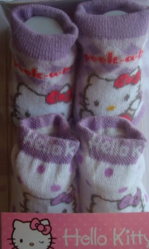 Hello Kitty Booties Girl Baby Infant Sock, Lavender with White and Pink,