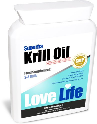 Love Life Superba Krill Oil | Sustainably Fished By Aker Biomarine | 500Mg X 60 Marine Soft Gel Capsules | Premium Gmp Supplement