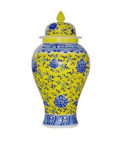 Asian Loft Ceramic Porcelain Lidded Urn, Yellow/Blue
