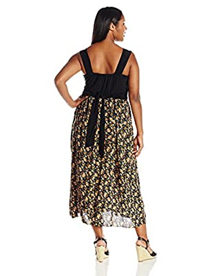 Star Vixen Women's Plus-Size Sleeveless Surplice Maxidress with Challis Skirt