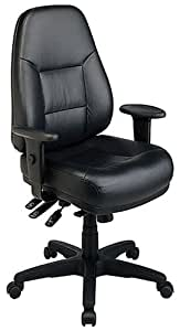 Office Star Work Smart Professional Multi Function Ergonomic High Back Leather Chair with Adjustable Padded Arms and Ratchet Back Height Adjustment, Black