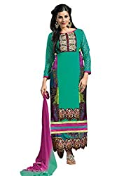Idha Green Semi-Stitched Printed Salwar Suit For Women