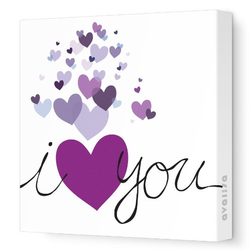 "Avalisa Stretched Canvas Nursery Wall Art, Hearts, Purple, 18"" x 18"""
