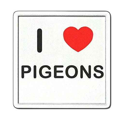 I Love Heart Pigeons - Plastique transparent thé Coaster / Mat bière
