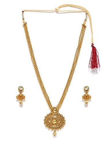 Zaveri Pearls Gold Non-Precious Metal Pendant Necklace With Drop Earring For Women