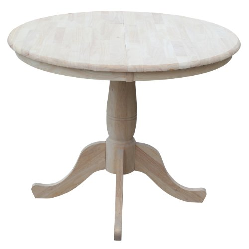 International Concepts 36-Inch Round Extension Dining Table with 12-Inch Leaf (Round Pedestal Drop Leaf Table compare prices)