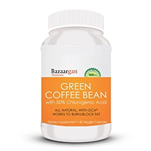 Bazaargan Nutrients Pure Green Coffee Bean Extract 800 with GCA Natural Weight Loss Supplement (60)