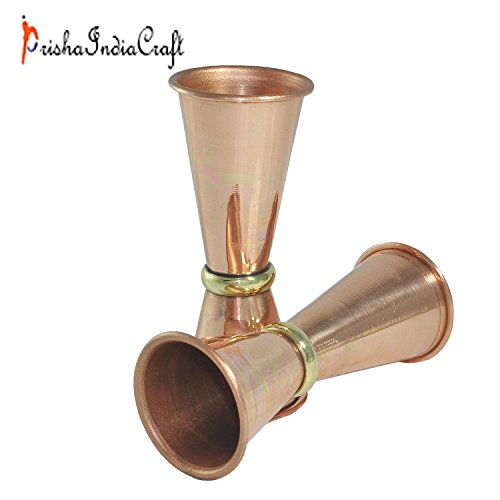 Set of 2 - Prisha India Craft ® Premium Quality 100% Pure Copper Jigger, Copper Shot Glasses - New Beer Bar Collection - Double Jigger Measure Shot - Copper Moscow Mule Cocktail Cup, Wine Glasses