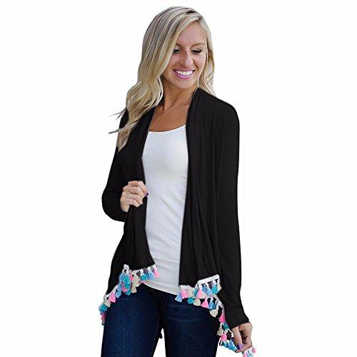 Cotton Kimono,Leegor Women Chic Elegant Color Tassel Cardigan Tops Coat Blouse (M, Black)
