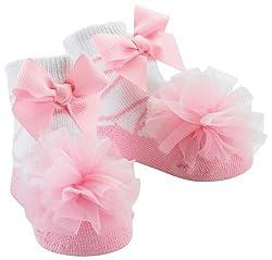 Mud Pie Baby-Girls Newborn Tulle Puff Socks, Pink, 0-12 Months