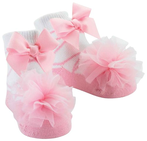 Mud Pie Baby-Girls Newborn Tulle Puff Socks, Pink, 0-12 Months