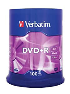 Verbatim 43551 DVD+R Rohlinge (16x Speed, 100-er Stück Spindle)