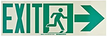 "Brady Green And Phosphorescent Color Egress Sign, Legend ""Exit With Running Man - Arrow Right"""