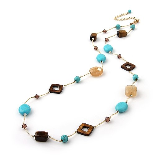 Turquoise Tiger Eye Crystal Long Bead Chain Link