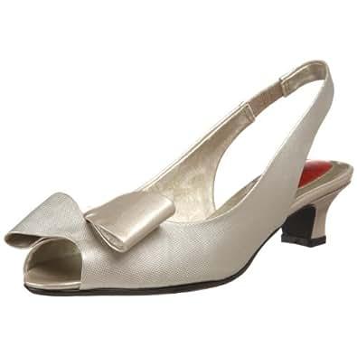 J.Renee Women's Kiana Peep-Toe Slingback,Gold Ivory,6.5 W US