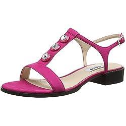 Clarks Bliss Shimmer, Damen T-Spangen Sandalen, Pink (Fuchsia Nubuck), 42 EU (8 Damen UK)