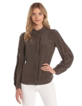 Rachel Roy Collection Women's Sandwashed Silk CDC Blouse, Twig, X-Small