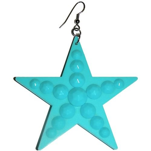 Big Plastic Star Earrings In Turquoise with Silver Finish