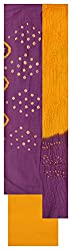 M S Bandhani Women's Cotton Silk Unstitched Dress Material (Purple and Yellow)