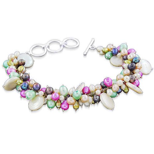 925 Sterling Silver Multi Color Pearl Gemstone Beautiful Antique Style Designer Strand Bracelet 9