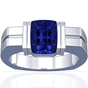 Platinum Emerald Cut Blue Sapphire Mens Ring