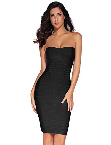 Meilun Women's Rayon Strapless Stretch Cocktail Bandage Dress Medium Black