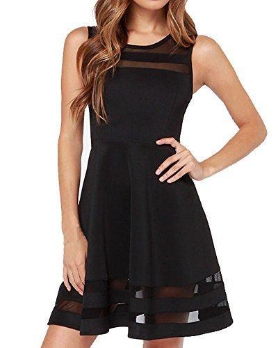 Face-N-Face-Womens-Mesh-Slim-Sleeveless-Short-Mini-Flare-Dress
