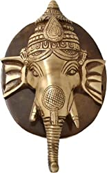 Two Moustaches Brass Ganesh Face Door Knocker With Plate Base