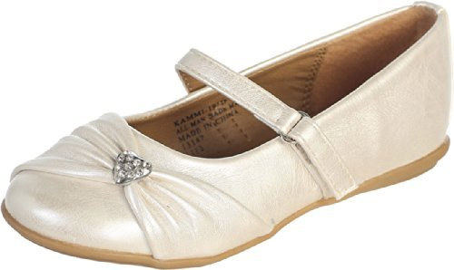 Ivory Pearl or White Infant & Girl's Flat Shoes with Rhinestone Heart