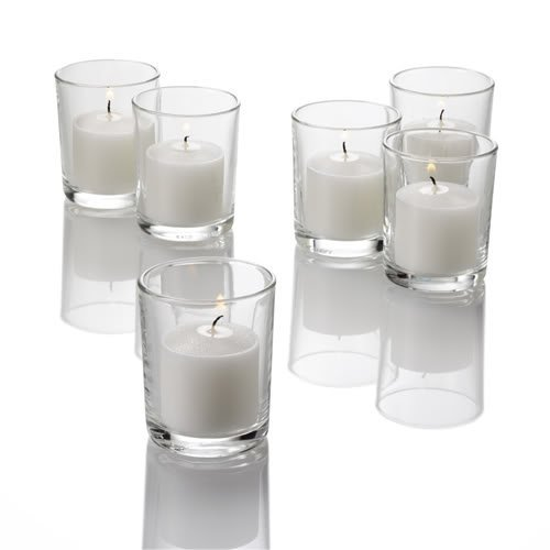 Set of 12 Clear Colored Eastland Glass Votive Candle Holders