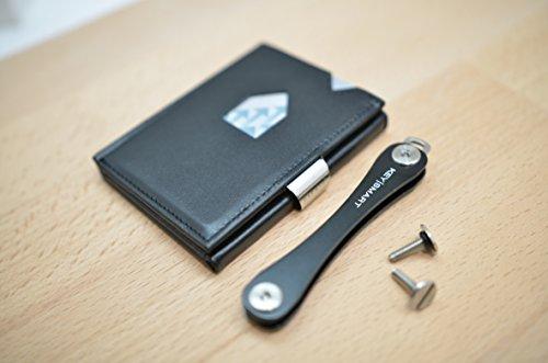 2Bundle composto da il EXENTRI Wallet in pelle nero e un keysm Art Extended 2.1in colore nero