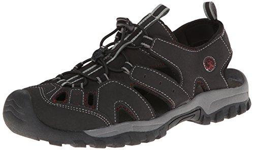 Northside Burke Ii Ankle-Strap Sandal (Toddler/Little Kid/Big Kid), Black/Red, 4 M Us Big Kid