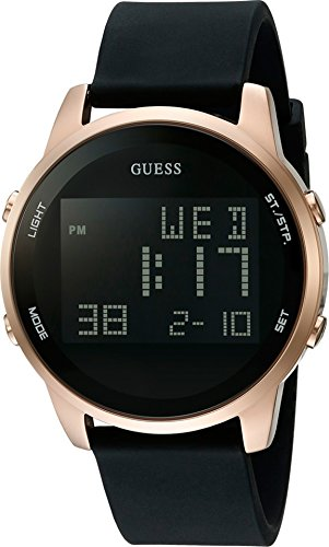 GUESS Men's Black and Gold-Tone Digital