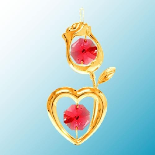 24K Gold Plated Hanging Sun Catcher or Ornament..... Rose with Red Swarovski Austrian Crystal