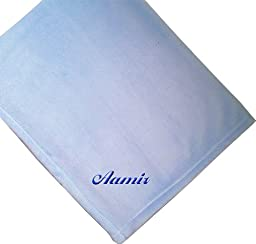 Aamir Embroidered Boy Name Personalized Microfleece Satin Trim Blue Baby Blanket