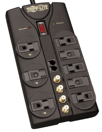 Tripp Lite 8 Outlet Surge Protector Power Strip Tel/Modem/Coax 10ft Cord Right Angle Plug 3240 Joules (TLP810SAT)