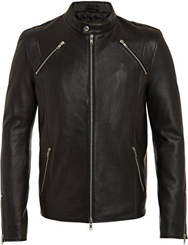 Giacca Nera in Pelle da Uomo - Alta Qualità, 100 % Cuero - Giacche Designer Fashion Rock, Style Bomber - Moda Cool Urban per Uomo S, M, L, XL, XXL