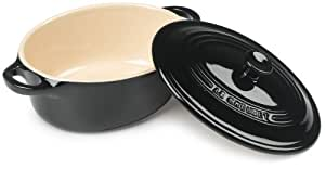 Le Creuset Stoneware 12-Ounce Mini Oval Cocotte, Black Onyx
