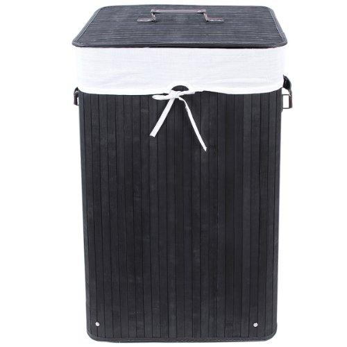 3 Griffe Faltbar Bambus Wäschekörbe Wäschebox Wäschetruhe Wäschesammler Wäschetonne Wäschewagen Schwarz Eckig LCB10H