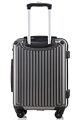 (BTM) Airline Approved ABS Super Lightweight 4 Wheel Spinner Suitcase Luggage Travel Case Trolley Case Carry-on Case Grey