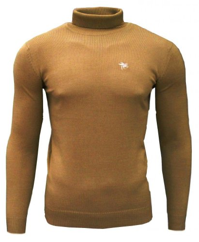 Soul Star Dagenham Men's Roll Neck Fashion Casual Jumper Top Sand Large