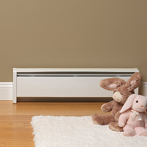 Top-Rated Hydronic SoftHeat 1250-Watt Electric Baseboard Heater by Cadet, Right-end wiring, 240V in white, safely provides quiet, even heat distribution with USA made quality and 7-Year warranty