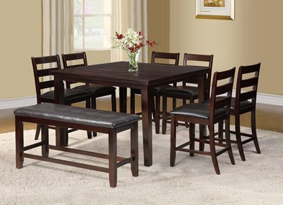 Furniture2go UFE-9605(Table + 6chairs + Bench) Cherry Dining Table Set - Dining Table with 6 Chairs and Bench - Solid Wood with Black Bonded Leather Seat, Assembly Required