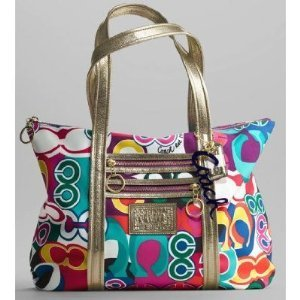 Coach Signature Poppy Glam Bag Purse Tote 13839