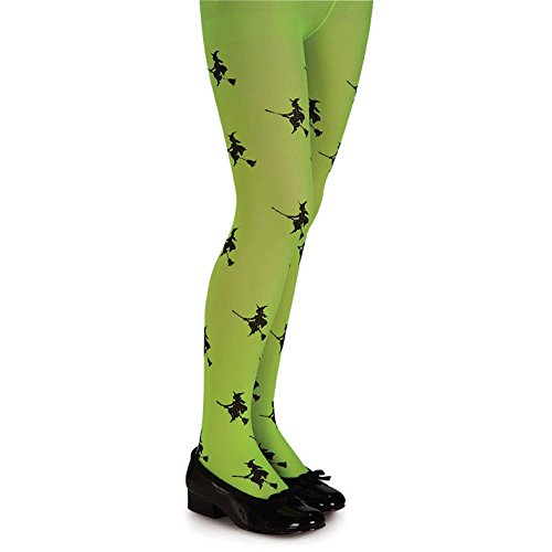 Girls Lime Glitter Witch Tights - Child Small